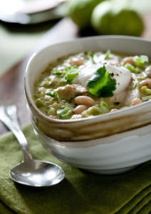 chicken chili topped with pareve sour cream
